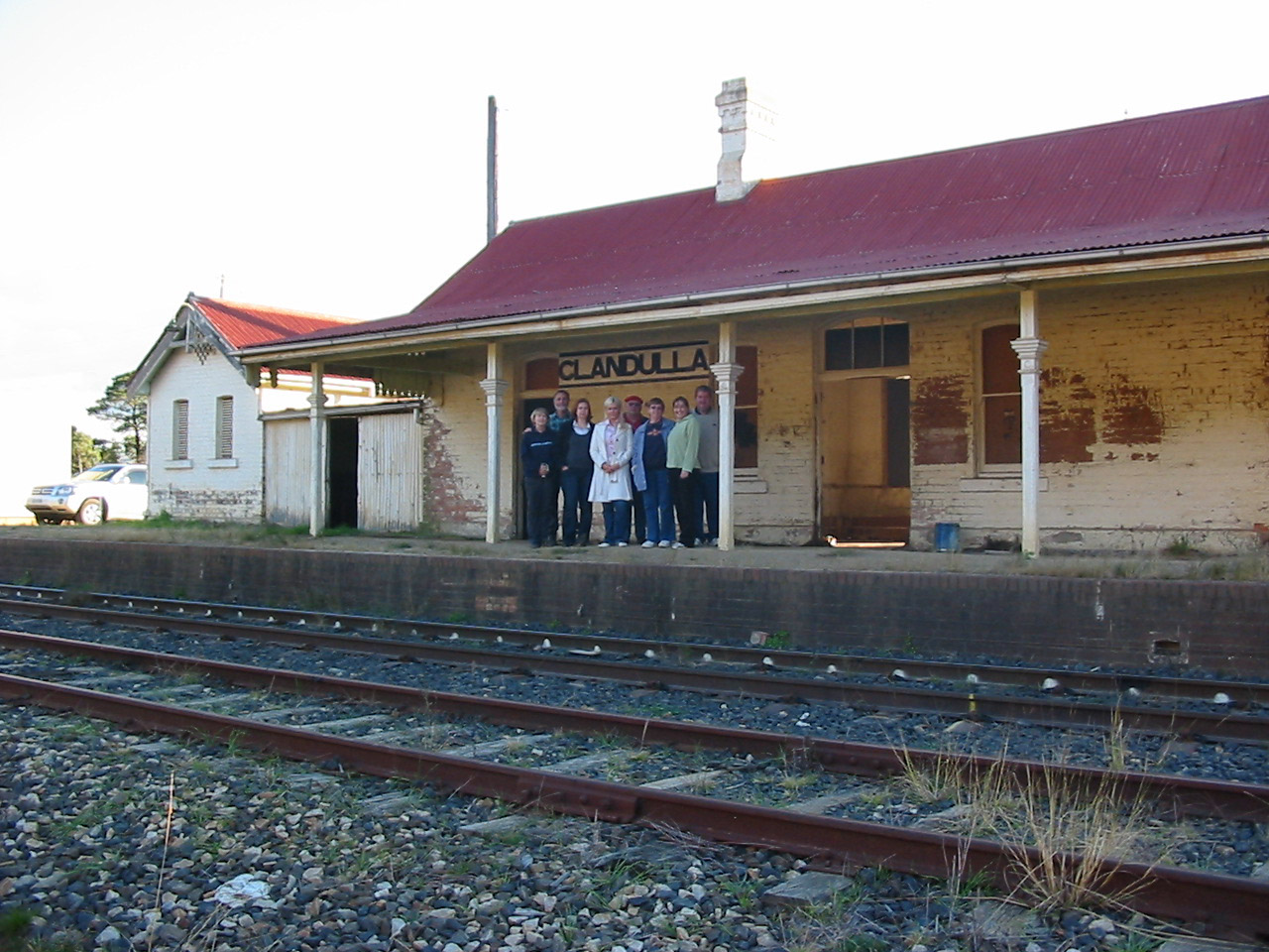 Group at Clandulla Station saying Good-bye
