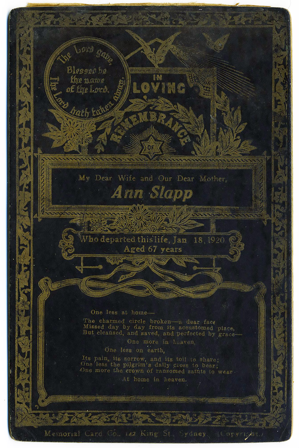Ann Slapp Memorial Card
