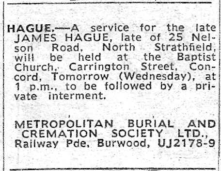 Funeral Notice – James Hague