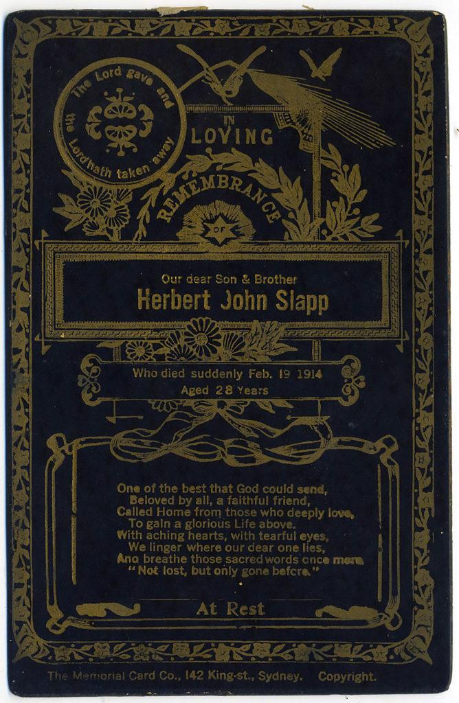 Herbert John Slapp Memorial Card