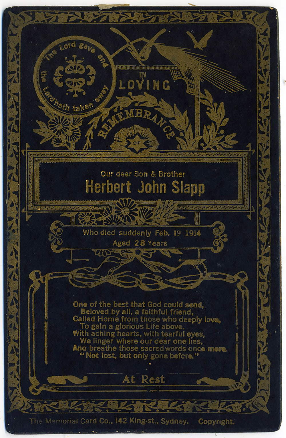 Herbert John Slapp Memorial Card