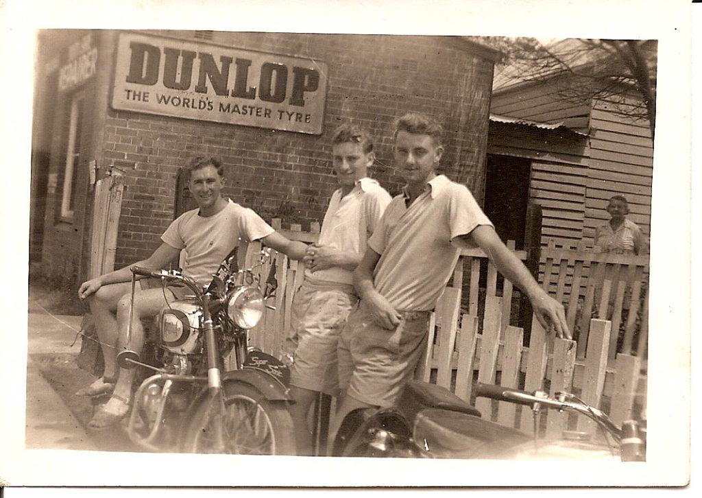 Keith Slapp & 2 mates outside Bike Shop Cabramatta