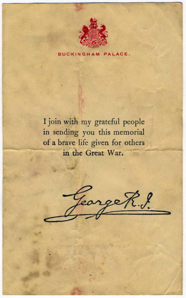 Great War Memorial Letter