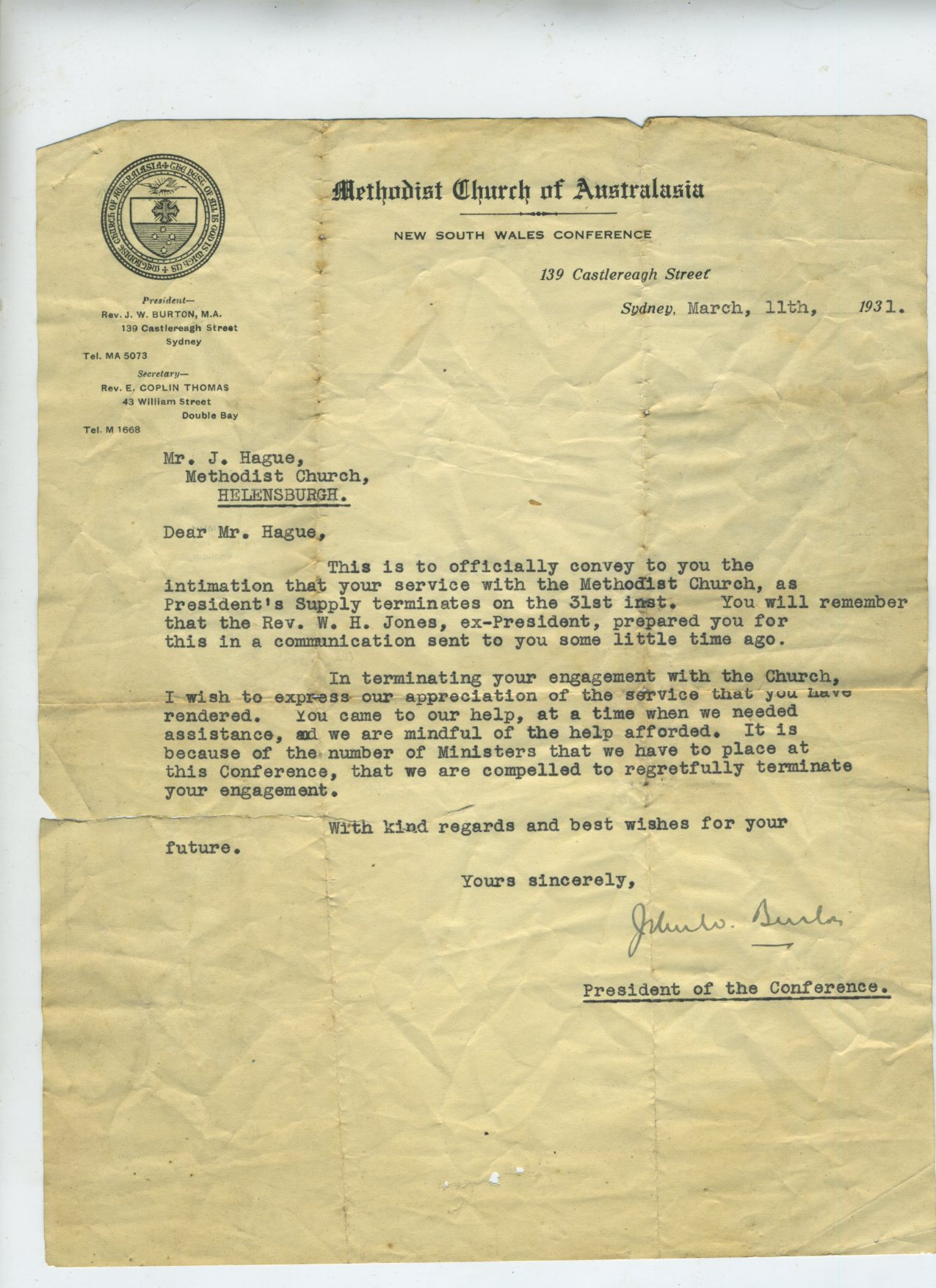 Methodist Church of Australasia correspondance 1931