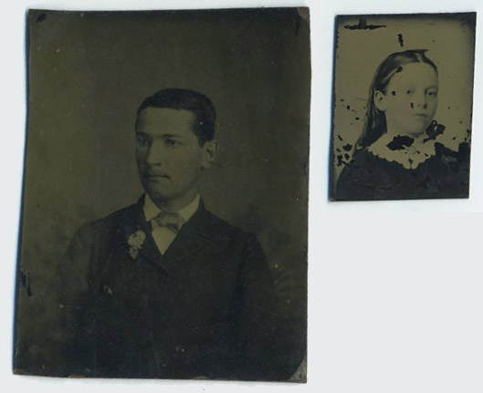 Two unknown people on small metal plates.