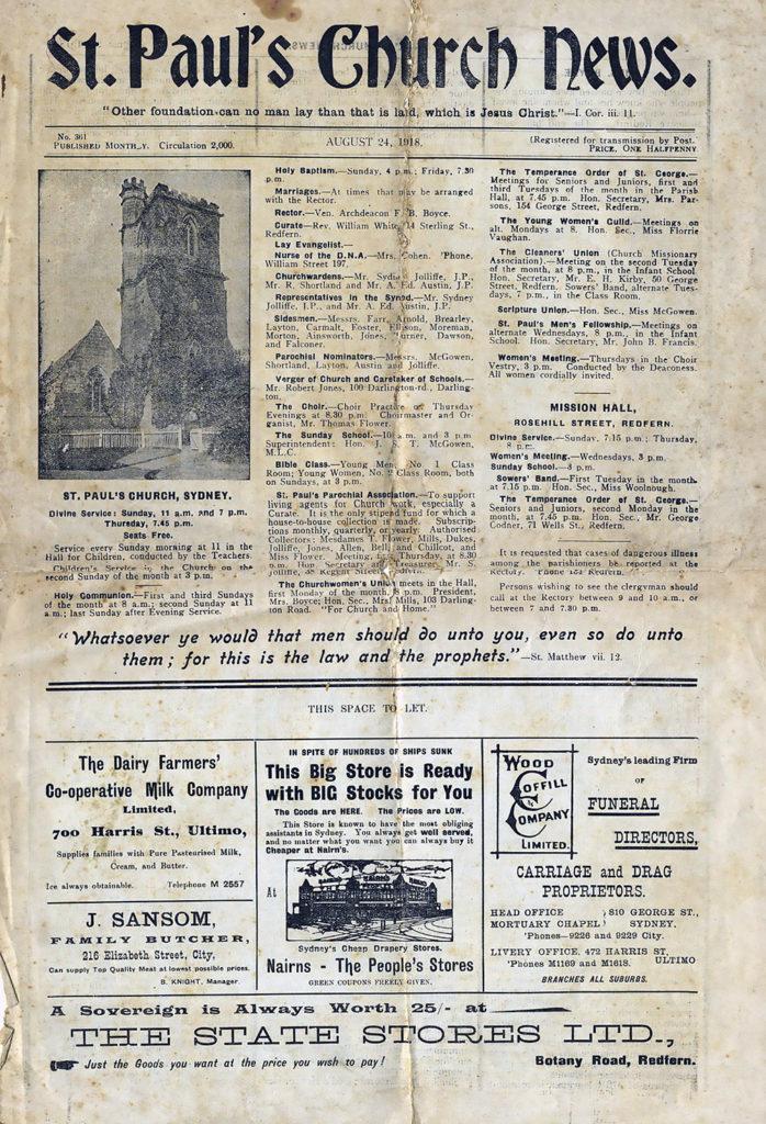 ST. Pauls Church News August 24, 1918