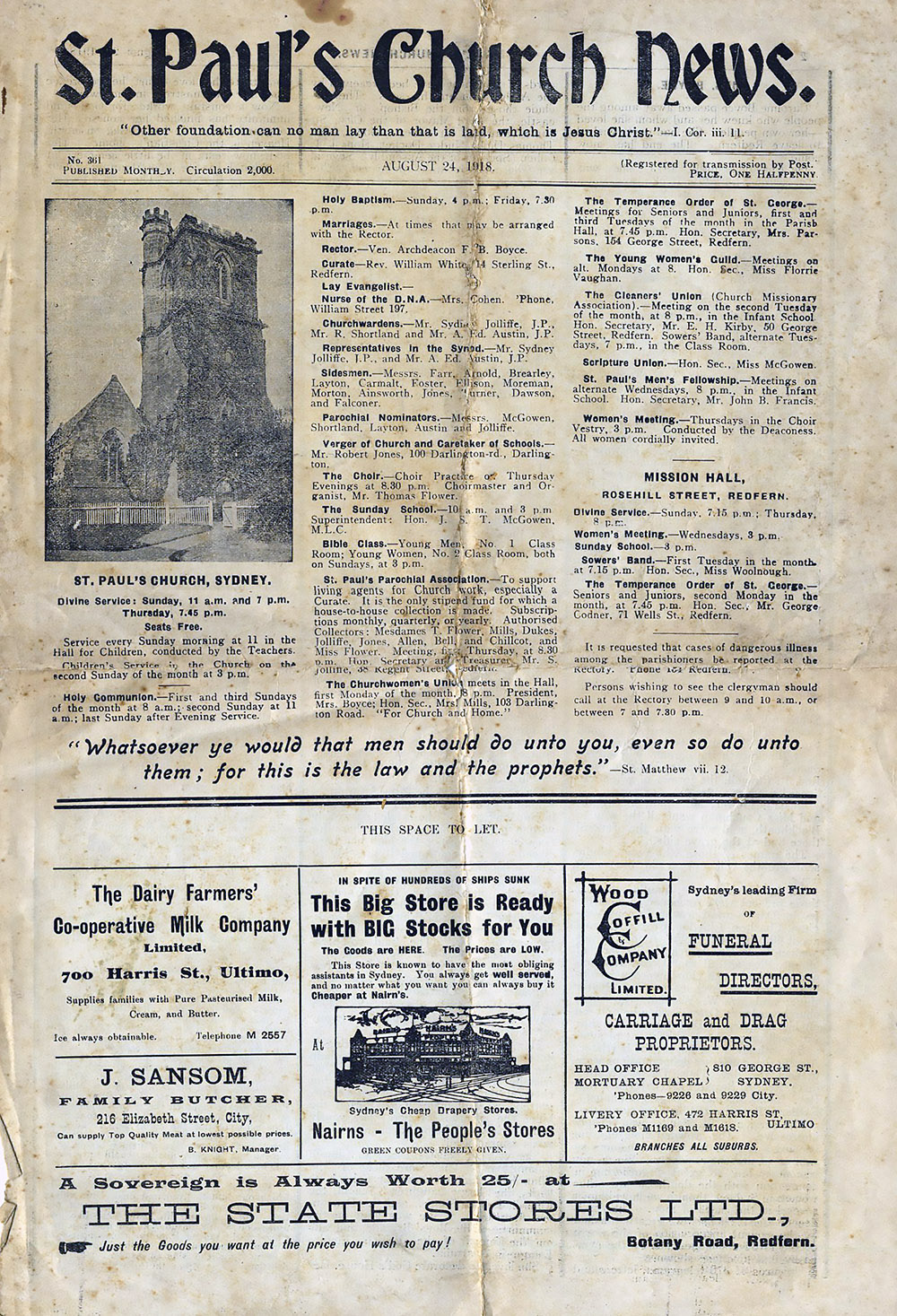 ST. Pauls Church News August 24, 1918