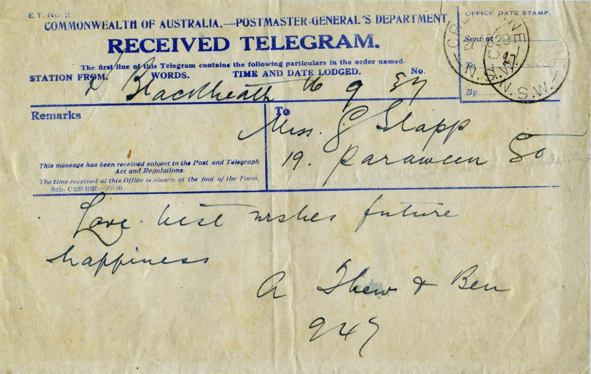 Telegram to Miss. G. Slapp from A. Thew & Ben 1929