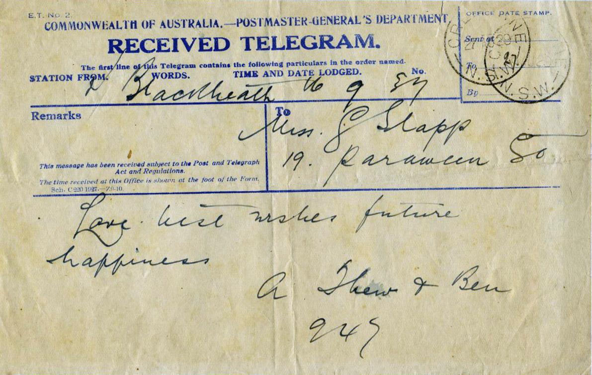 Telegram to Miss. G. Slapp from A. Thew & Ben 1929